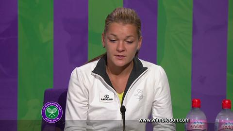 Agnieszka Radwanska talks to the media after Wimbledon Ladies' Singles final