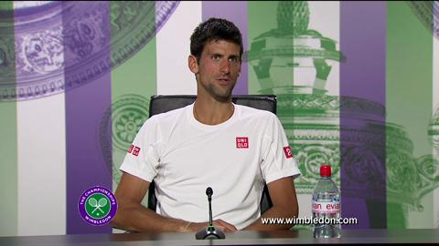Novak Djokovic talks to media after Wimbledon 2013 Final defeat