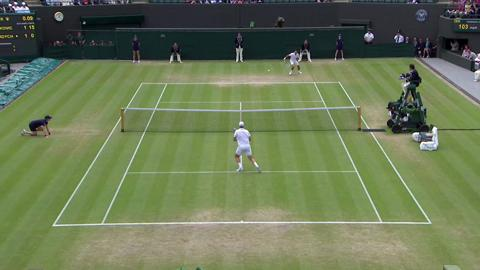Tomas Berdych volley against Novak Djokovic at Wimbledon 2013