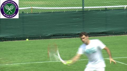 Roger Federer practises at Wimbledon