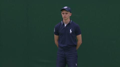 Wimbledon ball boy makes a great catch