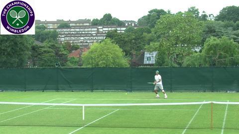 Rafael Nadal practises at Wimbledon