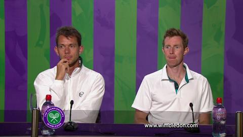 Wimbledon Doubles partners Jonathan Marray and Frederik Nielsen talk to the media