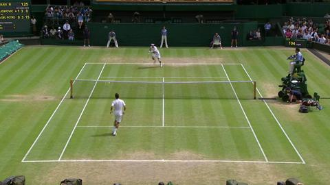 Fantastic passing shot from Del Potro at Wimbledon 2013