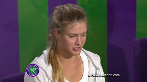 Wimbledon Girls' Singles champion Eugenie Bouchard talks to the media