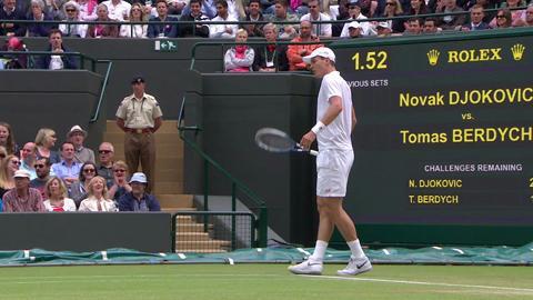 Incredible flexibility from Novak Djokovic as he does the splits