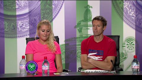 2013 Mixed Doubles champions Daniel Nestor and Kristina Mladenovic talk to the media