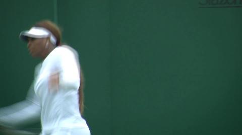 Serena Williams practises at Wimbledon