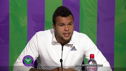 Wimbledon 2012: Jo-Wilfried Tsonga talks to the media