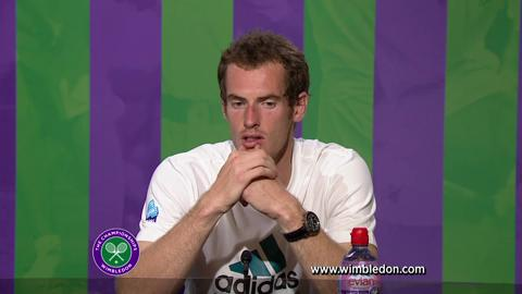Andy Murray talks to the media after Wimbledon 2012 Gentlemen's Singles final
