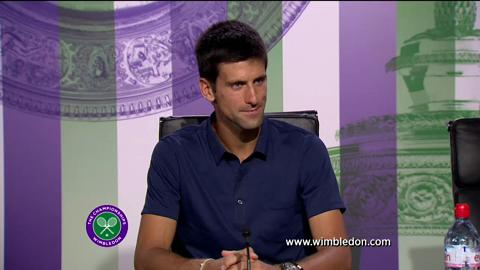 Novak Djokovic talks to the media ahead of Wimbledon 2013 final