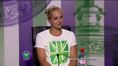 Sabine Lisicki talks to the media after Wimbledon 2013 final defeat