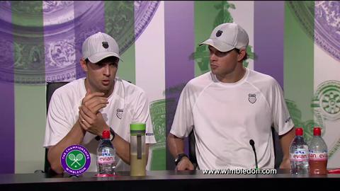 2013 Gentlemen's Doubles Champions the Bryan Brothers talks to the media