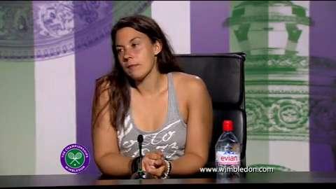 Wimbledon Champion Marion Bartoli talks to the media