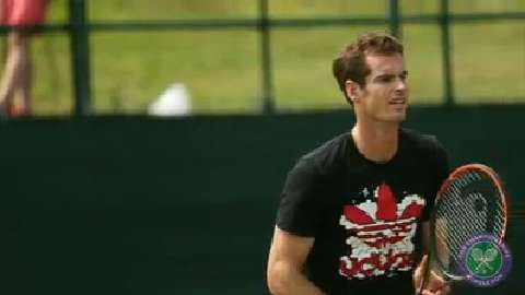 Andy Murray's practice court focus