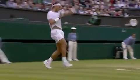 Nadal hits monster inside-out forehand