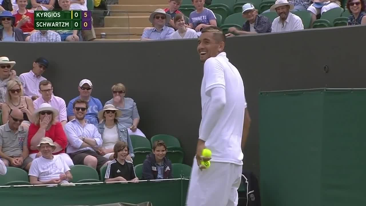 Nick Kyrgios has a laugh