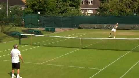 Caroline Wozniacki on the practice court