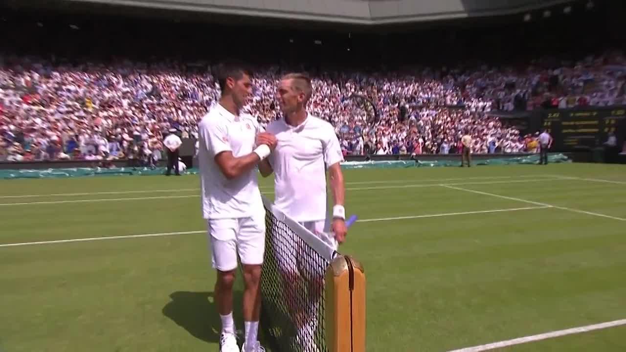 Djokovic leads Nieminen congratulations