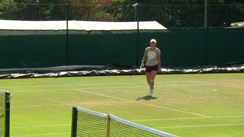 Caroline Wozniacki on the practice court