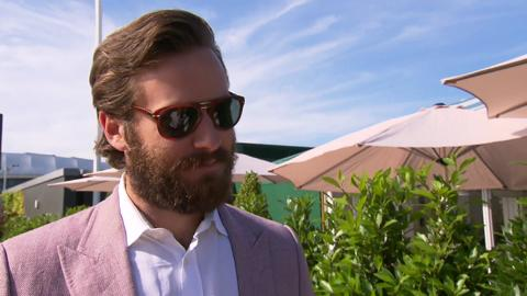 Armie Hammer in the Evian Lounge