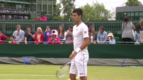 Novak Djokovic on the practice court
