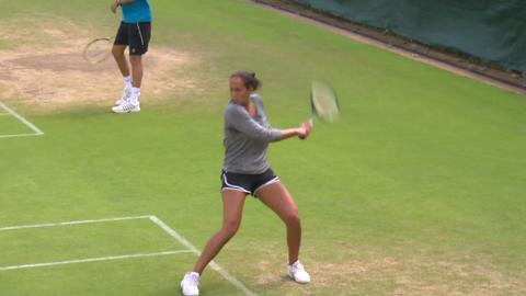 Madison Keys on the practice court