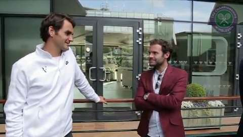Juan Mata, David de Gea and Ander Herrera meet Roger Federer and Jamie Murray