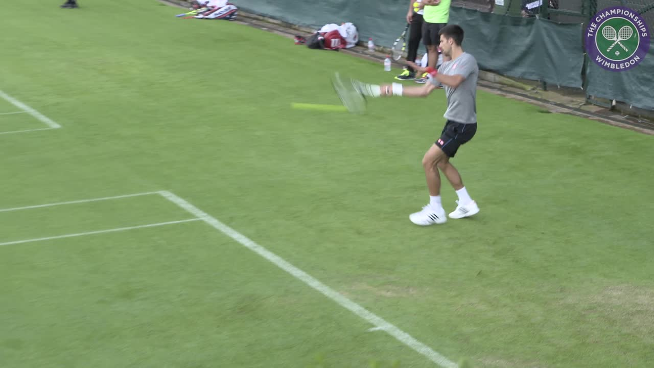 Djokovic hits the grass courts at Aorangi Park