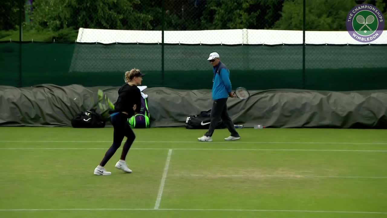 Eugenie Bouchard on practice court ahead of third round clash with Cibulkova