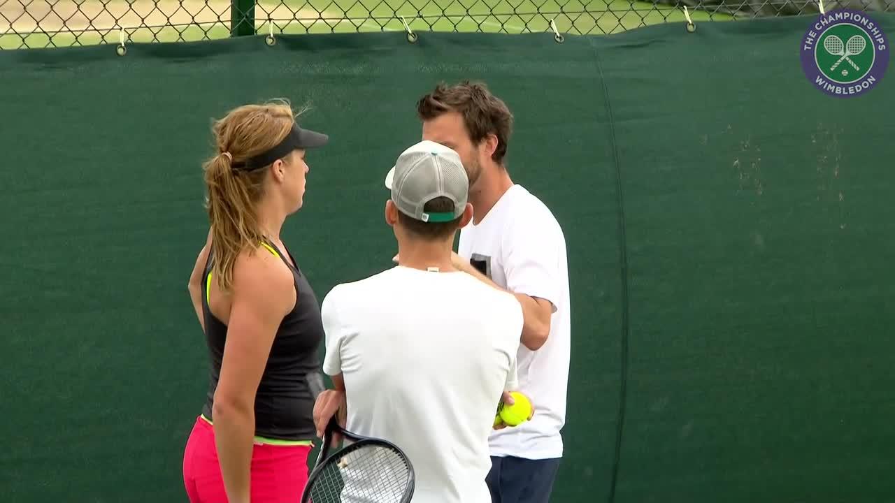 Anastasia Pavlyuchenkova on practice court ahead of quarter-final clash with Serena Williams