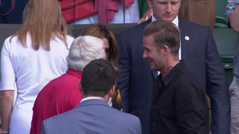 Beckham and the Federers take a moment after Roger's win