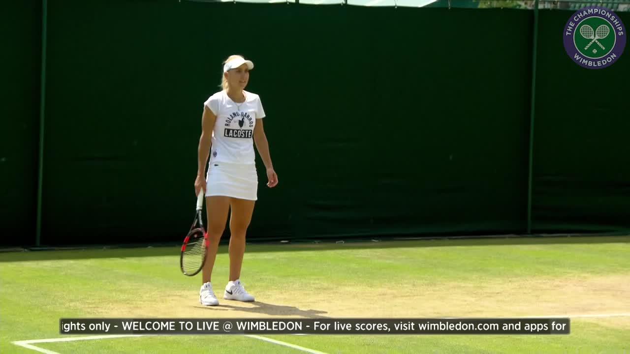 Elena Vesnina on practice court ahead of semi-final match