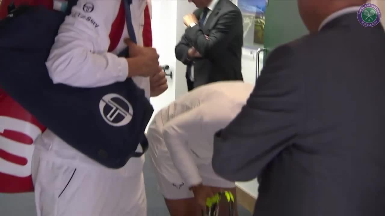 Nadal bangs head in tunnel