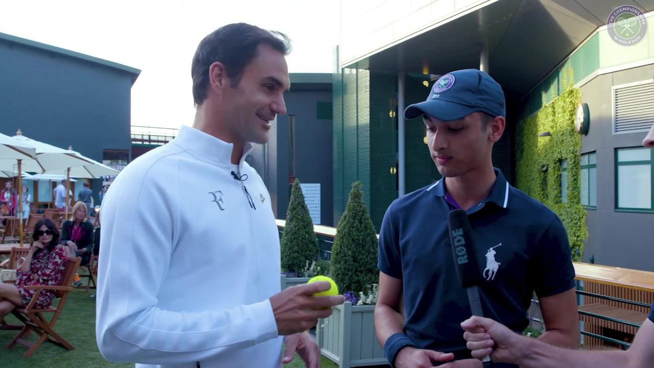 Federer surprises Ball Boy who caught landmark ball